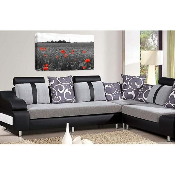 Floral Flower Wall Art Poppy Field Grey Red White Picture Print